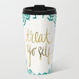Treat Yo Self – Gold & Turquoise Travel Mug
