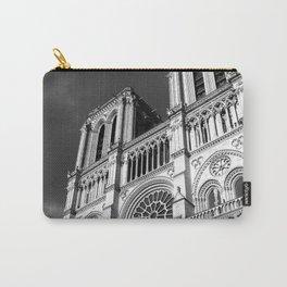 Notre Dame Cathedral Paris France Architecture Photography Art Print Monochrome Carry-All Pouch