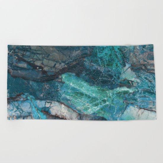 Cerulean Blue Marble Beach Towel