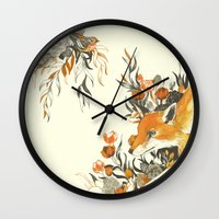 fox Wall Clocks featuring fox in foliage by Teagan White
