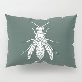 Honey Bee White on Green Background Pillow Sham