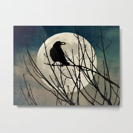 Rustic Crow Black Bird Night Full Moon Teal Cottage Chic Art A550 Metal Print