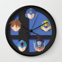 smash bros Wall Clocks featuring Megaman Smash Bros. by CmOrigins