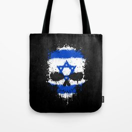 Flag of Israel on a Chaotic Splatter Skull Tote Bag