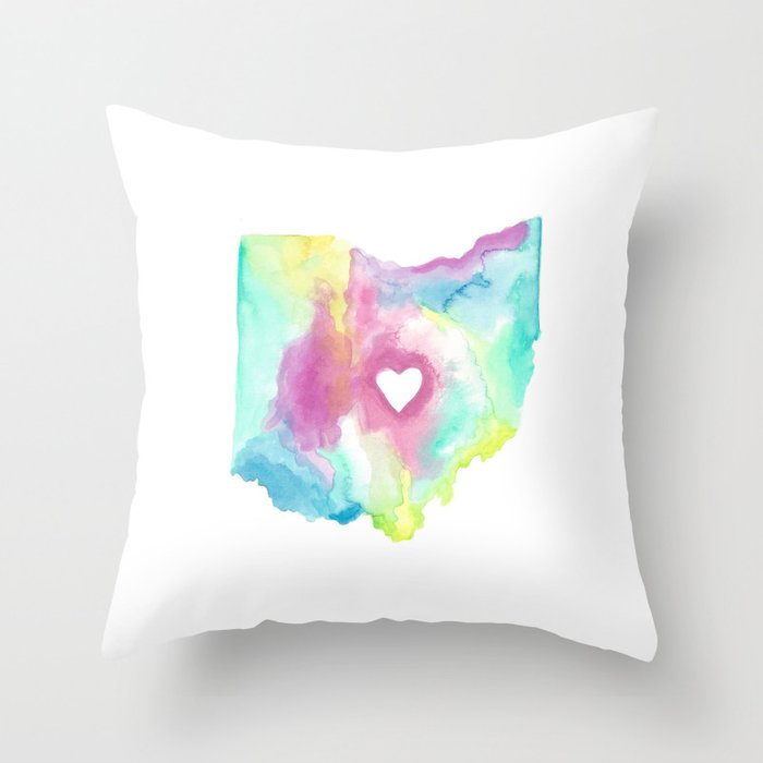 Ohio is where the Heart is Throw Pillow