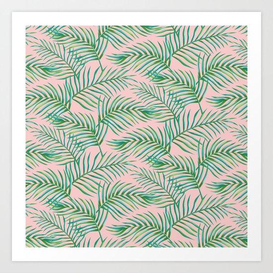 Palm Leaves_Bg Rose Quartz Art Print