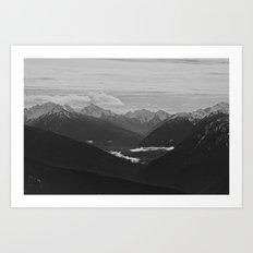 Mountain Landscape Black and White Art Print
