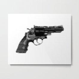 8bit glitch 357 Magnum Revolver Metal Print