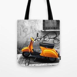 Orange Vespa in Bologna Black and White Photography Tote Bag