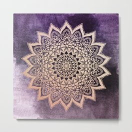 GOLD NIGHTS MANDALA IN PURPLE Metal Print
