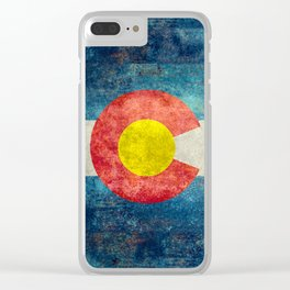 Grungy Colorado Flag Clear iPhone Case