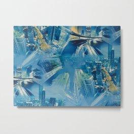 Abstract blue modern city Metal Print