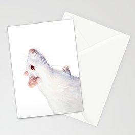 White Rat Watercolor Albino Rat Animal Stationery Cards