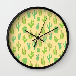 Colorful cactus desert illustration pattern. Green cactuses on yellow. Wall Clock