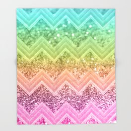 Rainbow Glitter Chevron #1 #shiny #decor #art #society6 Throw Blanket