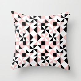 Eva - rose quartz quilt squares hipster retro geometric minimal abstract pattern print black pink Throw Pillow