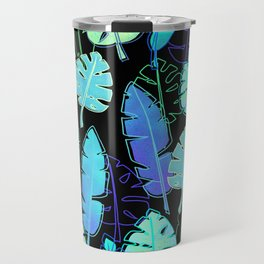 tropic leaves pattern (monstera and the bird of paradise) Travel Mug