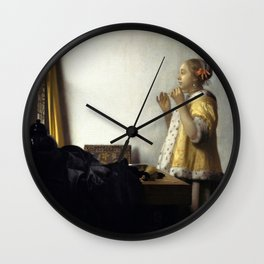 Johannes Vermeer - Woman with a Pearl Necklace Wall Clock