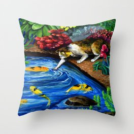 Cat Fishing at Koi Pond Painting by Sonya Allen Throw Pillow