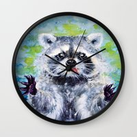 raccoon Wall Clocks featuring Raccoon by Alina Rubanenko