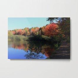Autumn Trail Lake Relections Metal Print