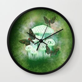 Mossy Moths Wall Clock