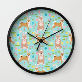 Shiba Inu dog breed easter bunny dog costume pet portrait dog patterns Wall Clock