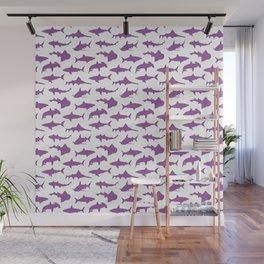 Violet Sharks Wall Mural