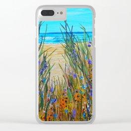 Beach flowers, impressionism ocean art, wildflowers on the beach Clear iPhone Case