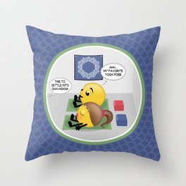 Shavasana Yoga Emoji Cartoon Throw Pillow