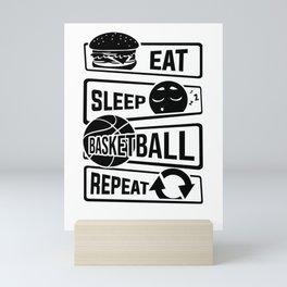 Eat Sleep Basketball Repeat - B-Ball Team Dunk Mini Art Print