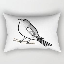 Cute bird on a twig- Tiny sparrow drawing in shades of grey Rectangular Pillow