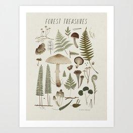 Forest treasures on light background Art Print