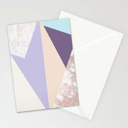 Geometrical faux rose gold pastel colors colorblock Stationery Cards