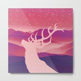 Oh Deer Purple Hills Metal Print