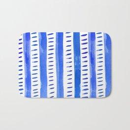 Watercolor lines - blue Bath Mat