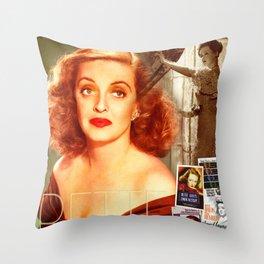 Bette Davis Collage Portrait Throw Pillow