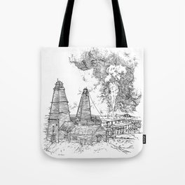 Oil well on fire - Derrick - 19th Century Tote Bag
