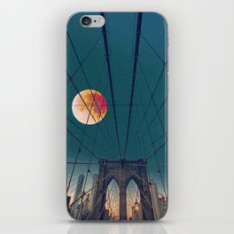 Blood Moon over the Brooklyn Bridge and New York City iPhone Skin