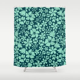 Tropical Paws in Green Shower Curtain