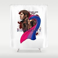 fandom Shower Curtains featuring Fandom Pride : Bisexuality ( Dean Winchester) by Cinensis