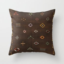 Brown Bohemian Traditional Moroccan Vintage Artwork (N25) Throw Pillow