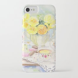 I Love Yellow Roses at Tea Time iPhone Case
