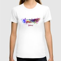 seoul T-shirts featuring Seoul skyline in watercolor by Paulrommer