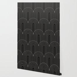 Art Deco Arch Pattern V - Black & White Wallpaper