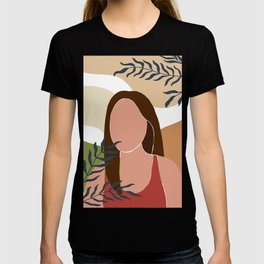 Set of 4 posters abstract female and leaves silhouettes in boho style, Collection of paradise women T-shirt