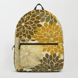 Golden Petals Pattern Backpack