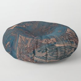 Rose gold and cobalt blue antique world map with sail ships Floor Pillow