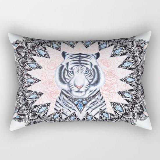 White Tiger Sapphire and Rose Mandala Rectangular Pillow