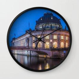 Berlin Germany Bode Museum, Spree Rivers Evening Street lights Cities river Wall Clock